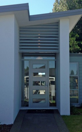 louvres shading entry to home